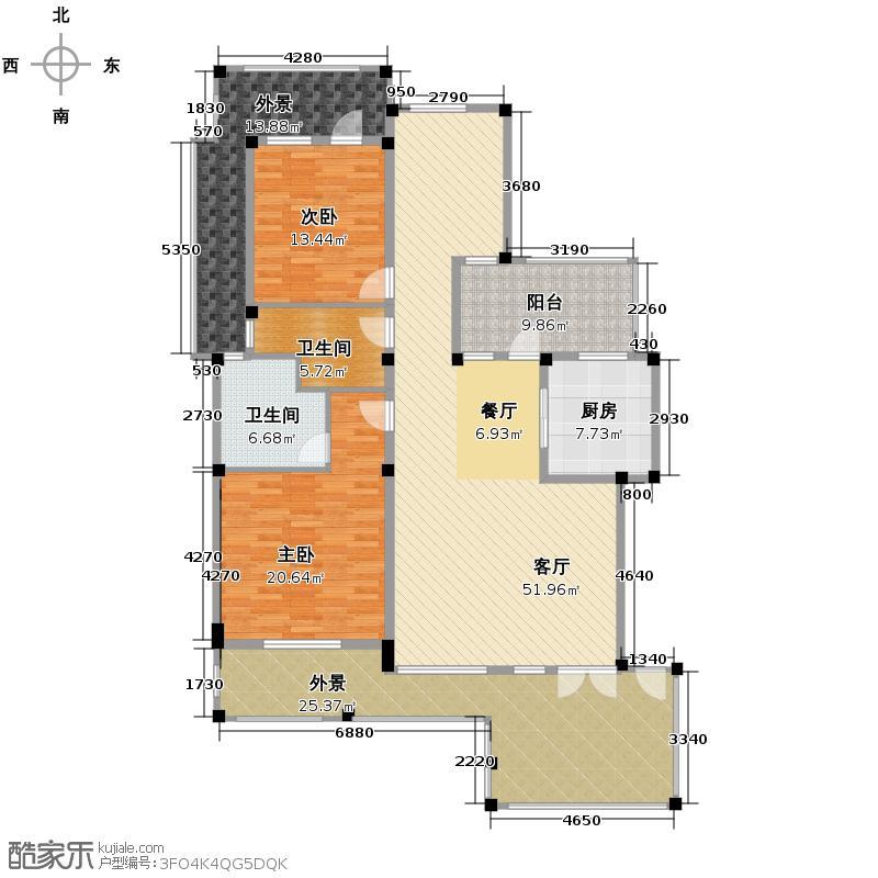 富豪新岸131.87㎡二期E4户型2室1厅2卫1厨