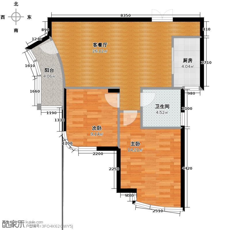 玉兰公寓82.00㎡户型2室1厅1卫1厨