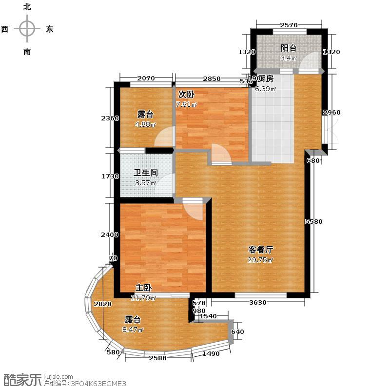观澜时代排屋79.50㎡云邸1号楼、2号楼C户型2室1厅1卫