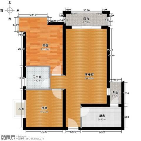 凯旋帝景2室1厅1卫1厨86.00㎡户型图