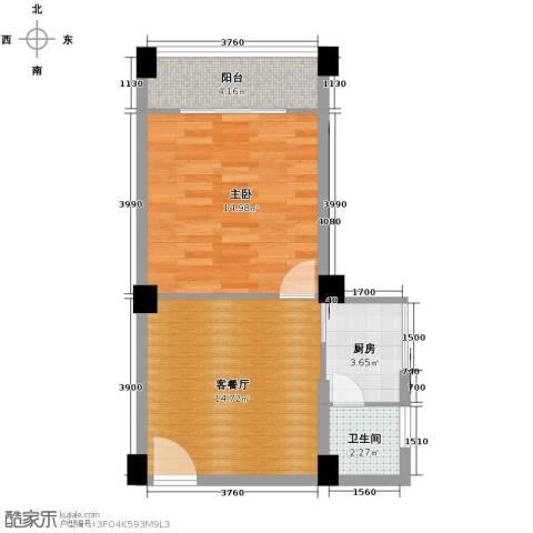 月亮湾草莓街区1室1厅1卫1厨47.00㎡户型图