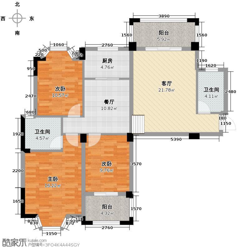 汇锦城117.16㎡东方名城23#E2户04单元3室户型3室2厅2卫1厨