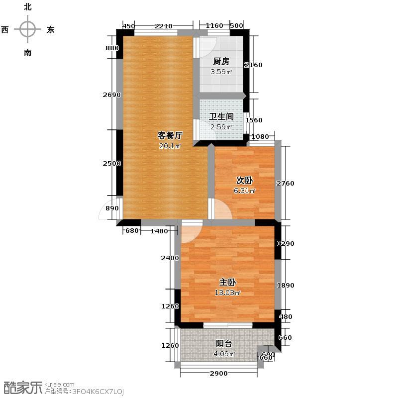 光盛豪庭76.79㎡一阳台户型2室2厅1卫