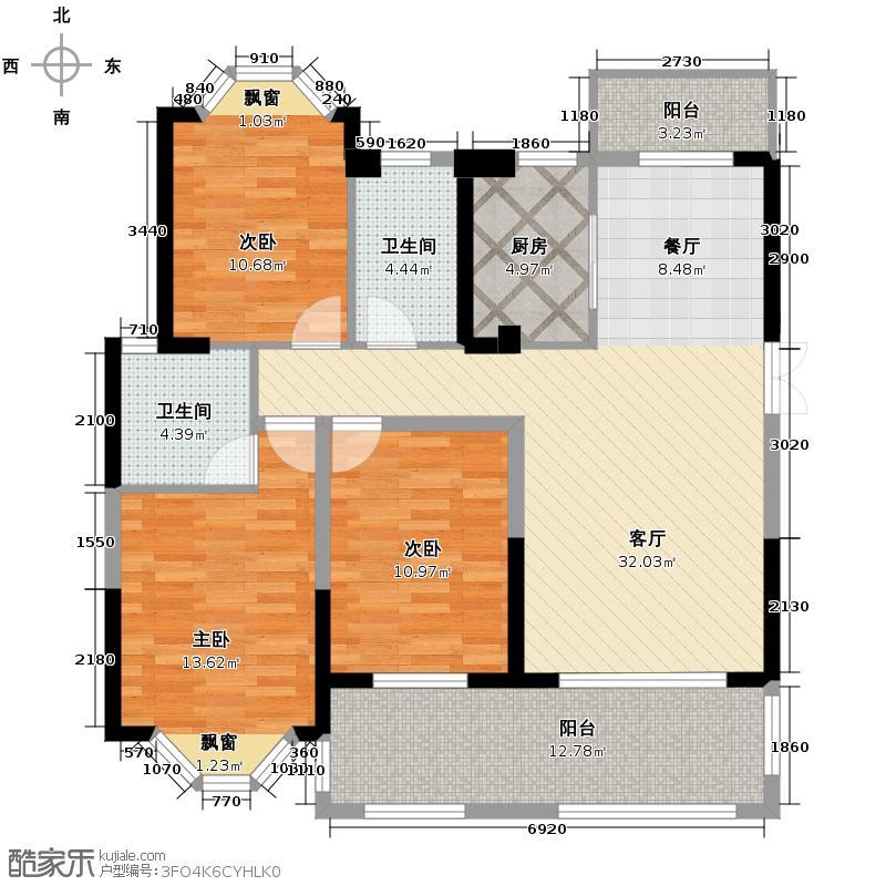 三盛托斯卡纳128.00㎡95#楼户型3室2厅2卫