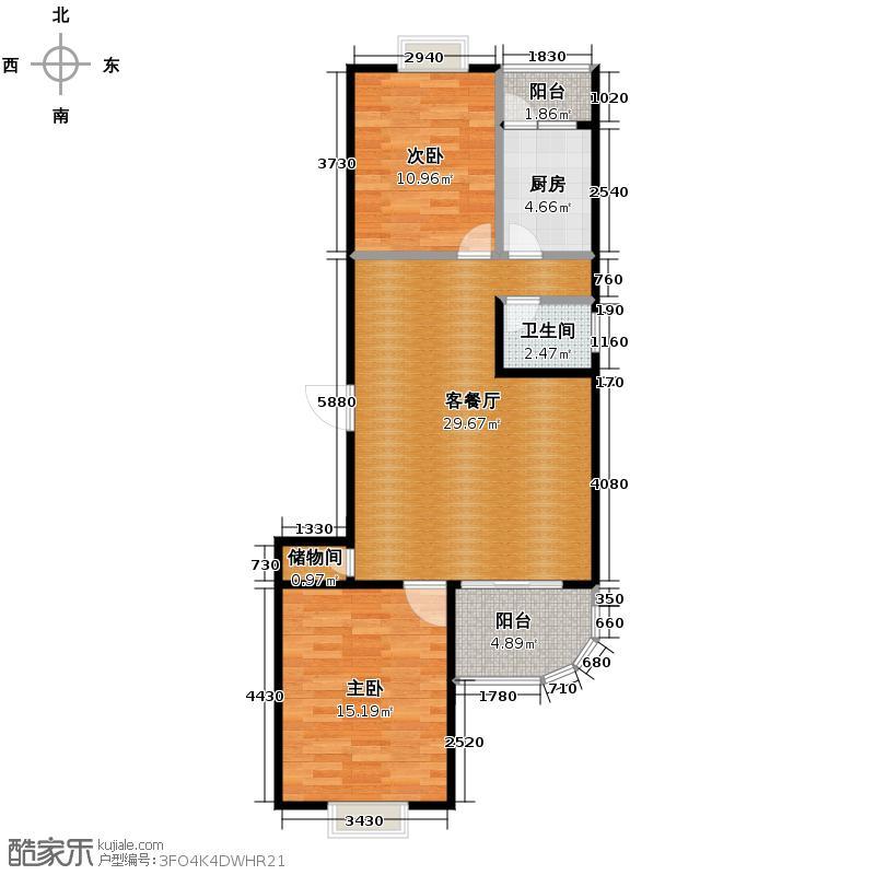 龙腾随园99.00㎡A/D/E01户型2室1厅1卫1厨