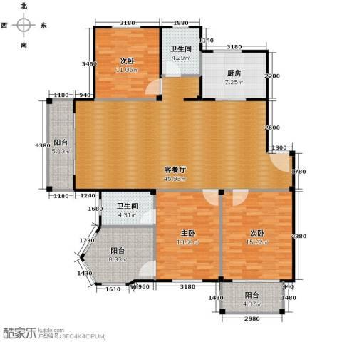 众孚水榭花都3室1厅2卫1厨136.00㎡户型图