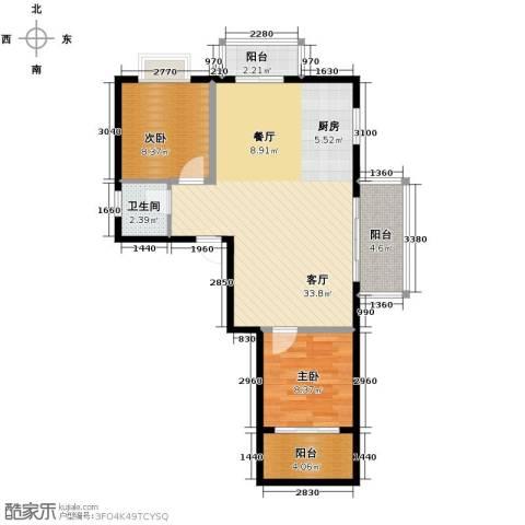 以勒山水国际养生社区2室1厅1卫0厨82.00㎡户型图