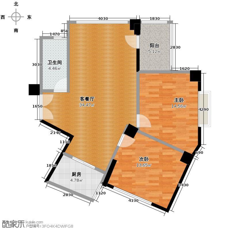 龙腾随园104.00㎡B/C02户型2室1厅1卫1厨