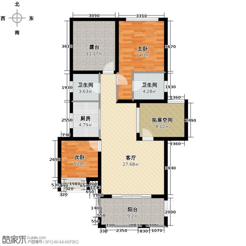 汇锦城97.02㎡7栋B49702清水户型2室1厅2卫1厨