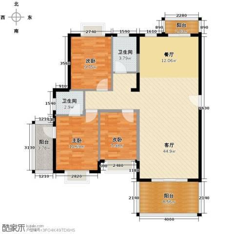 以勒山水国际养生社区3室1厅2卫0厨119.00㎡户型图