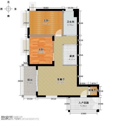 新浪国际公馆2室1厅1卫1厨86.00㎡户型图