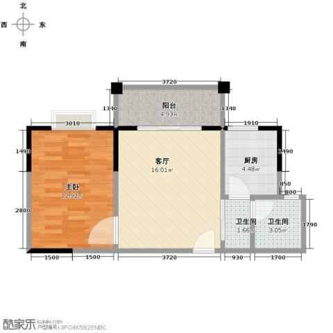 博雅湘水湾1室1厅2卫1厨55.00㎡户型图
