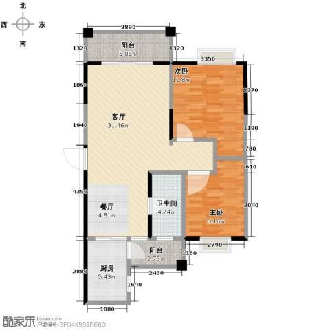 博雅湘水湾2室1厅1卫1厨88.00㎡户型图