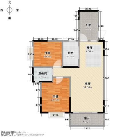 博雅湘水湾2室1厅1卫1厨89.00㎡户型图
