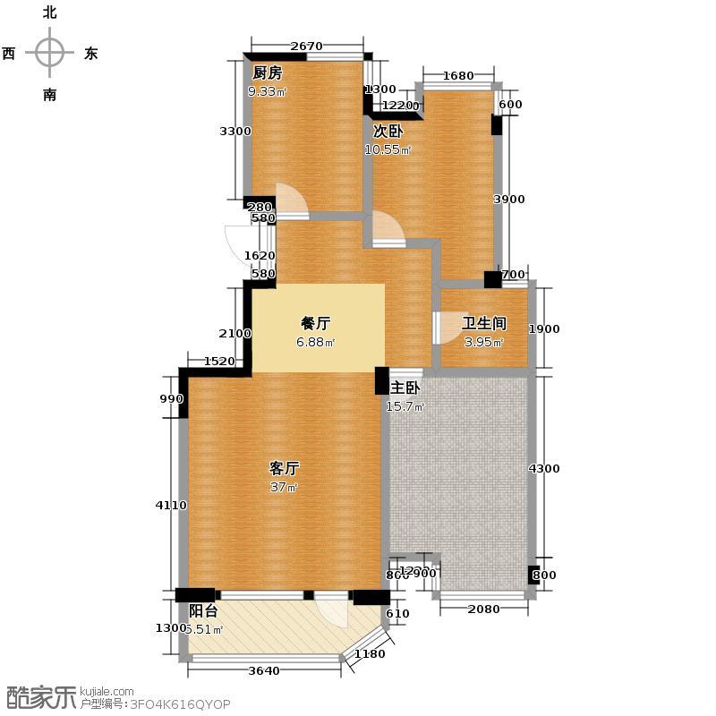 绿城丽江公寓91.97㎡户型2室1厅1卫1厨