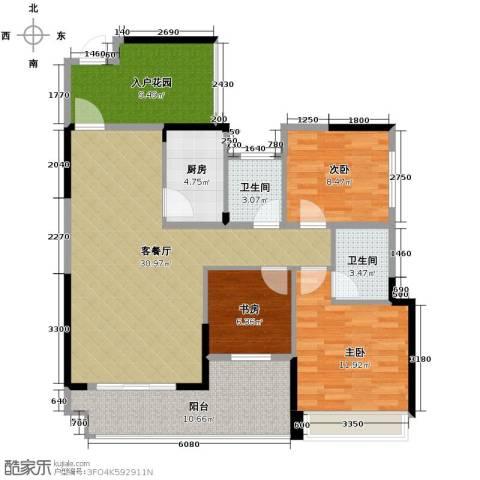 筑梦佳园3室1厅2卫1厨107.00㎡户型图
