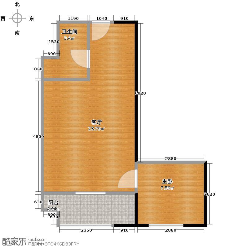 益田枫露57.15㎡公寓V户型1室1厅1卫