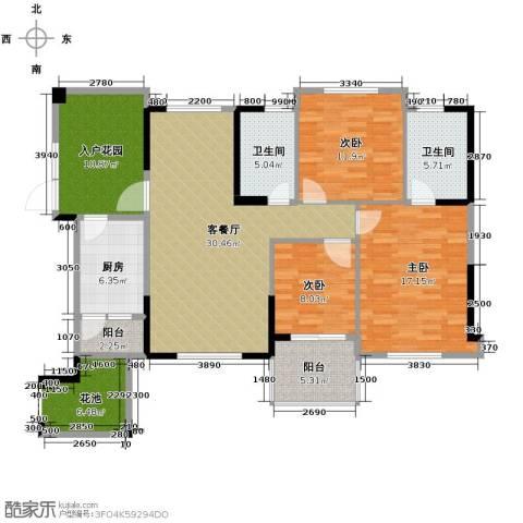 筑梦佳园3室1厅2卫1厨127.00㎡户型图
