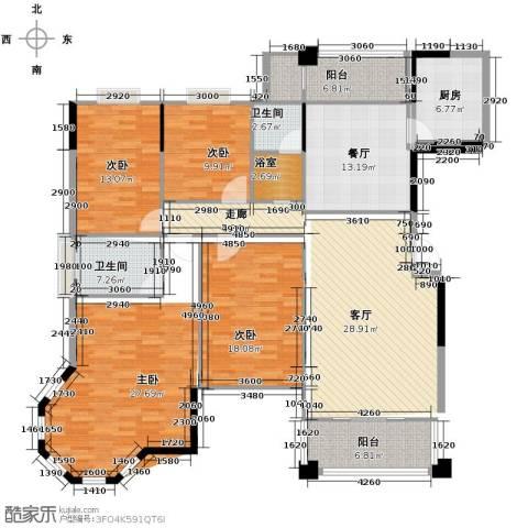 博雅湘水湾2室1厅1卫1厨169.00㎡户型图