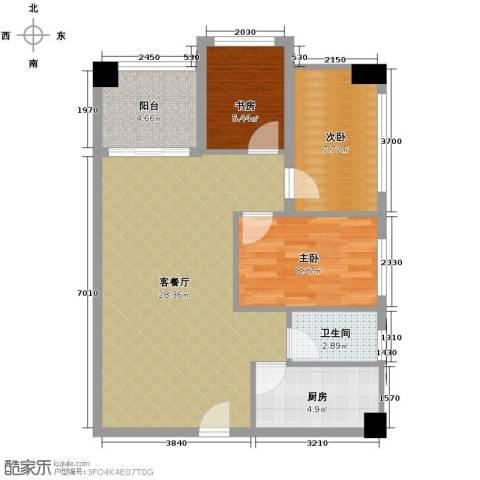 衍宏康馨花园2期3室1厅1卫1厨71.02㎡户型图
