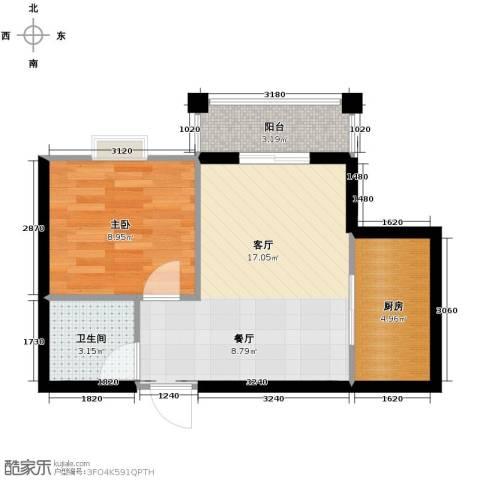 博雅湘水湾1室1厅1卫1厨48.00㎡户型图