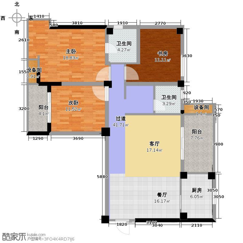 万鸿城市花园122.00㎡B2型户型3室2卫1厨