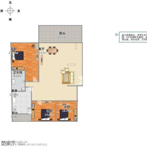 融景居(科技大厦)3室1厅1卫1厨241.00㎡户型图