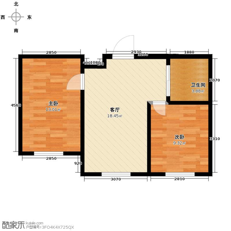 新地山湾56.50㎡A1户型2室1厅1卫