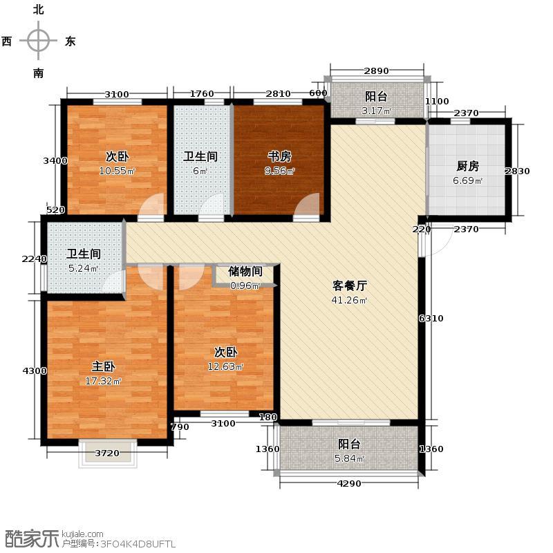 广大同城印象132.96㎡H(售完)户型4室1厅2卫1厨