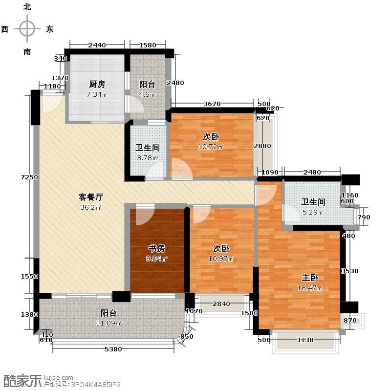 汇锦城134.24㎡雅居乐海南清水湾蔚蓝高尔夫组团EA2洋房户型4室1厅2卫1厨