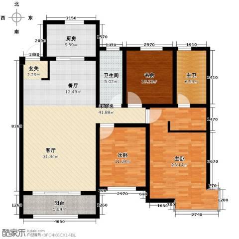 中海�庭3室2厅2卫0厨125.96㎡户型图