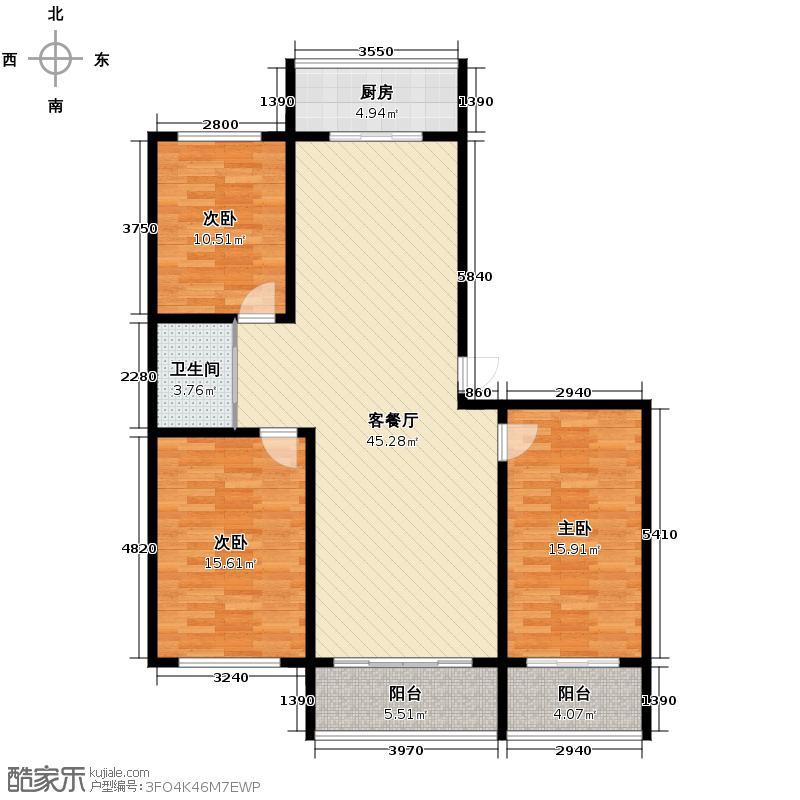 汇锦城127.00㎡江南文苑户型3室1厅1卫1厨