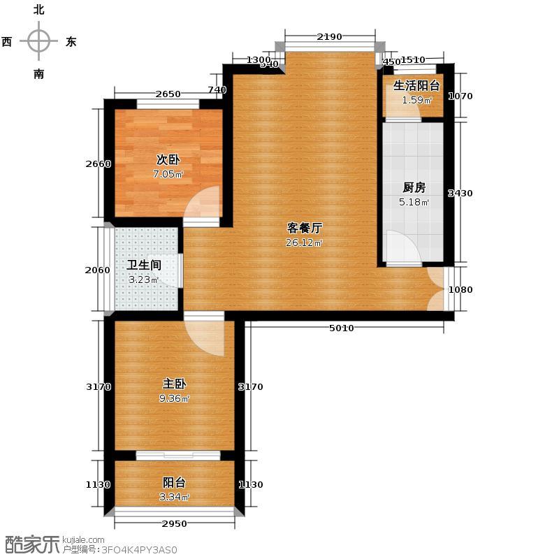亚太玫瑰园94.88㎡6-D户型2室1厅1卫1厨