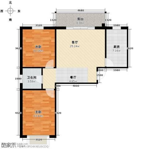 嘉捷桃园里2室1厅1卫1厨88.00㎡户型图