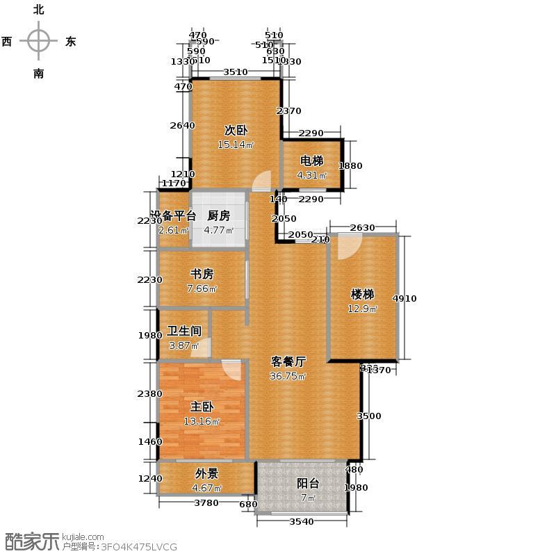 汇锦城90.00㎡中海篁外山庄偶数层中间套户型3室1厅1卫1厨