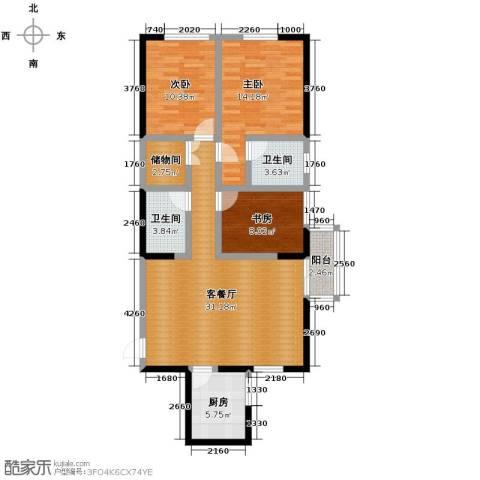 金色梧桐3室2厅1卫0厨122.00㎡户型图