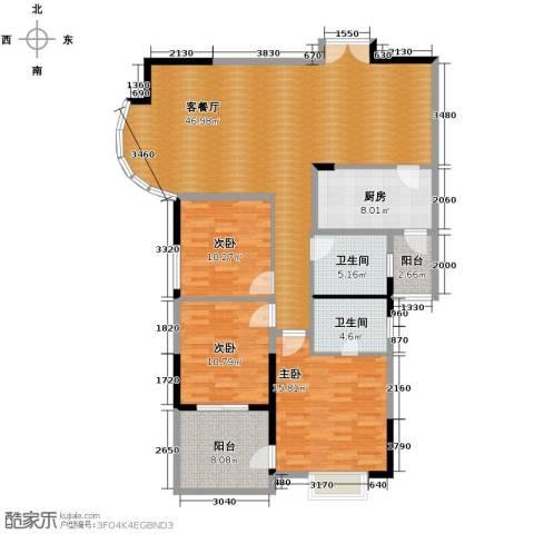 湘隆时代大公馆3室1厅2卫1厨160.00㎡户型图