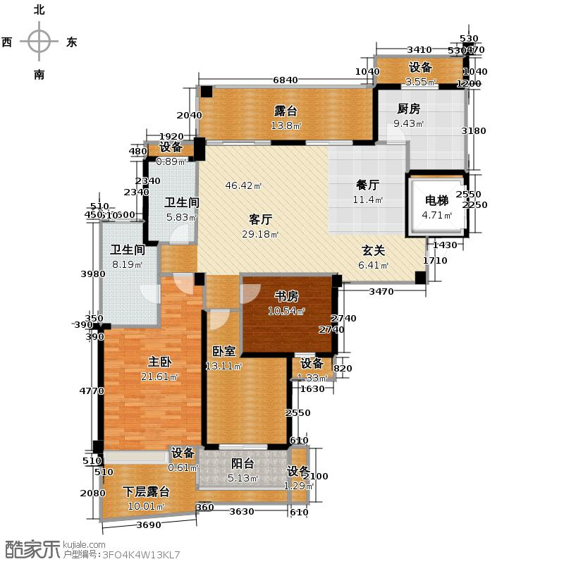 中凯东方红街137.11㎡四期3-G偶数层户型2室2卫1厨