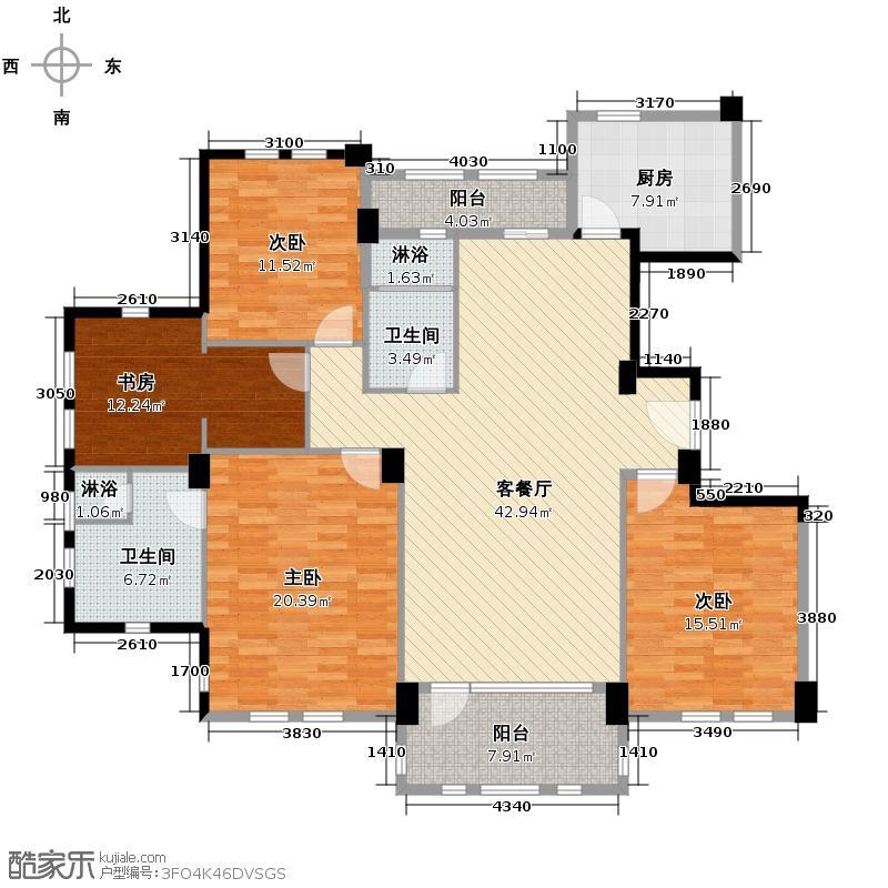 汇锦城170.00㎡绿城新绿园户型4室1厅2卫1厨