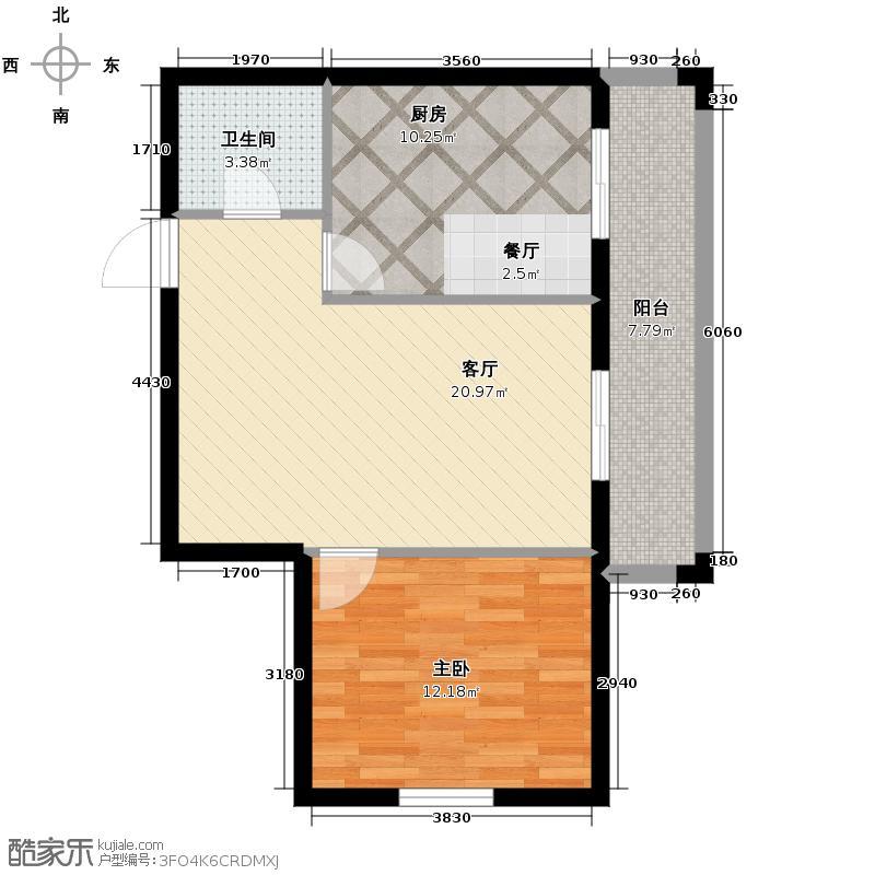 万吉华府81.72㎡2号楼2单元4号1室户型1室1厅1卫