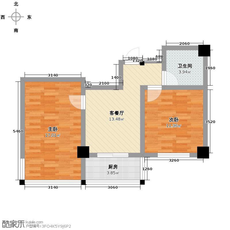 东方之珠龙腾苑72.00㎡高层C户型2室1厅1卫