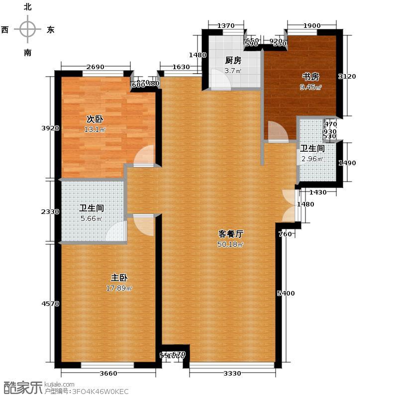 汇锦城145.00㎡西美第五大道1#楼C1户型3室1厅2卫1厨