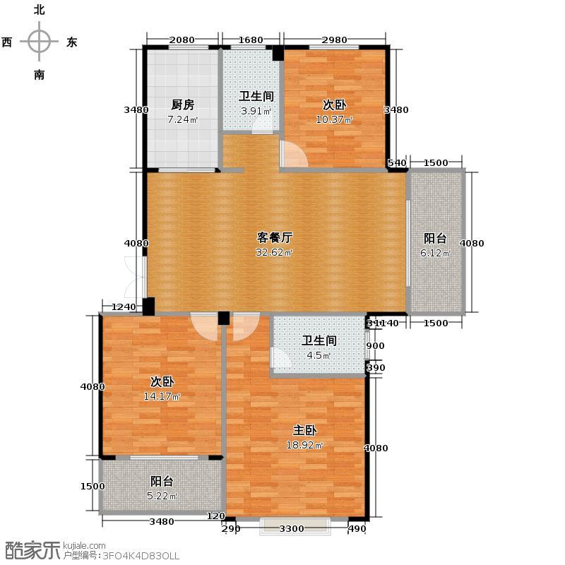 景丽华庭120.00㎡三期6、8号楼标准层边套D户型3室1厅2卫1厨