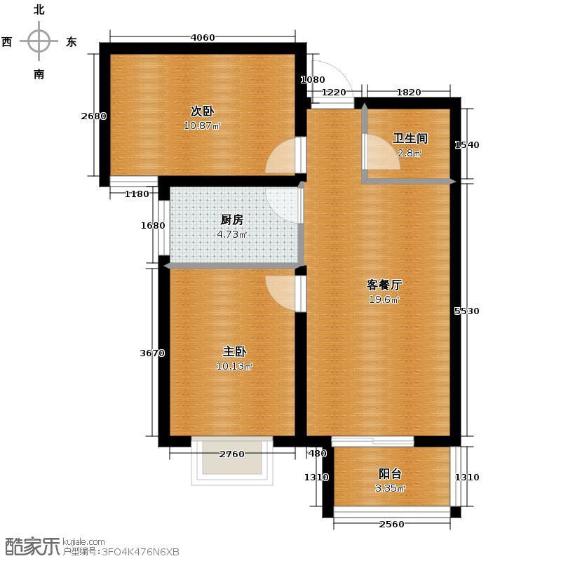 汇锦城75.52㎡7#户型2室1厅1卫1厨