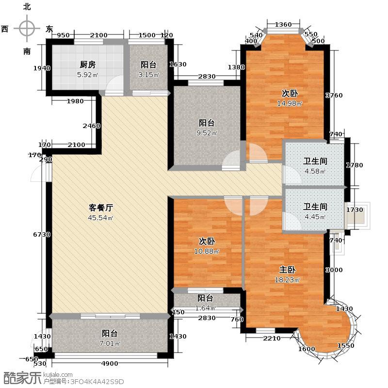 汇锦城125.00㎡东方名城户型3室1厅2卫1厨