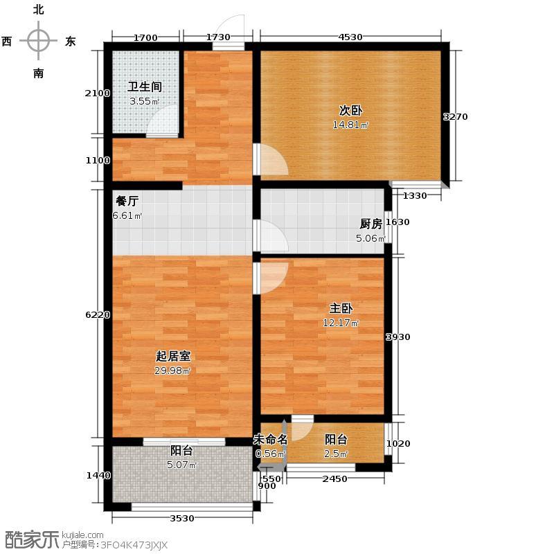 汇锦城103.38㎡世奥湾4号楼二单元022室户型2室1卫1厨
