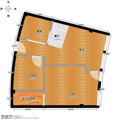 同方国际1室1厅1卫1厨57.00㎡户型图