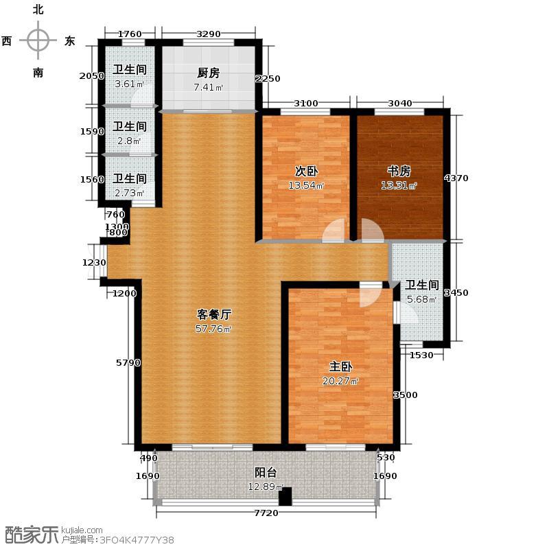 汇锦城186.36㎡维多利亚时代二期F1户型3室1厅4卫1厨