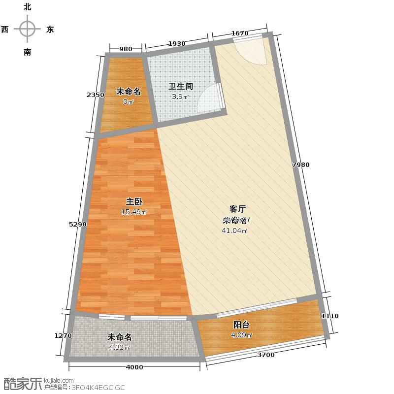 湘隆时代大公馆65.59㎡一期c1-232户型1卫