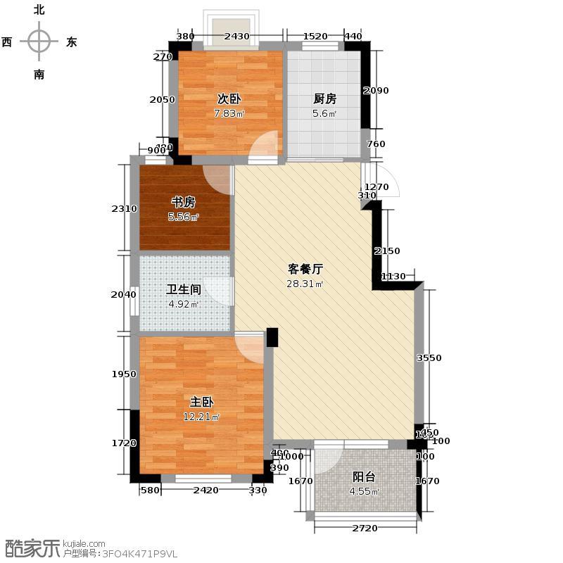 滨安小区50.00㎡户型3室1厅1卫1厨